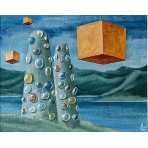 WALTER LEVY - Composição surrealista, óleo sobre tela, 32 x 40cm, assinado no canto inferior direito, datado de 1973