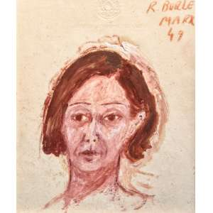 ROBERTO BURLE MARX - Figura feminina, técnica mista, 25 x 20cm, assinado no canto superior direito, datado de 1949