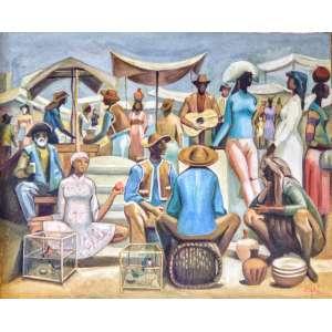 """HECTOR CARYBÉ - Estudo para o painel """"O violeiro"""" pertencente ao acervo do Museu de Arte Contemporânea de Lisboa-Portugal, óleo sobre tela, 60 x 50cm, assinado no canto inferior direito. Esta obra está reproduzida no Catálogo de Leilão da Galeria Rugendas – Vitor Braga / 2014."""
