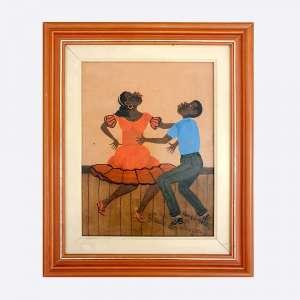 HEITOR DOS PRAZERES - Casal de Dançarinos. Óleo sobre eucatex. Medidas: 20 x 27 cm e com moldura 32 x 39. Assinado no canto inferior direito. Possui certificado emitido e assinado pelo curador da obra do artista.