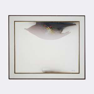 FUKUDA - Composição. Óleo sobre tela. Medidas: 80 x 100 cm. Data: 1989. Assinado no canto inferior direito. Com selo/cache da Galeria Contorno no verso.