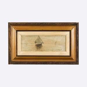 GIOVANNI BATTISTA CASTAGNETO - Marinha. Óleo sobre madeira. Medidas: 12,5 x 27 cm. Data: 1894. Assinado e datado 94 no canto inferior direito.
