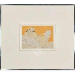 MILTON DACOSTA - Vênus e Passáro. O.S.T. óleo sobre tela. Medidas: 22x16 cm (obra). Ano: 1974. Assinado no canto inferior esquerdo. Titulado, datado e com dedicatória assinada pelo artista no verso da obra. Possui o cachê/etiqueta da Galeria Borghese – RJ com o Tombo/Núm. I02/89. Ex-Coleção: Sra. Helena e Sr. Sergio Dourado.