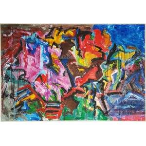 """JORGE GUINLE – """"Untitled"""". A.S.T. acrílica sobre tela. Medidas: 107 x 175 cm (obra). Data: 1980. Com o Certificado de Autenticidade original emitido pelo curador da obra do artista, Sr. Marco R.. Assinado e datado no CID-canto inferior direito e no verso da obra. Com moldura de madeira cor natural tipo baguete. Estado de conservação: Ótimo."""