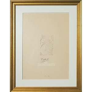 PICASSO, Pablo - Escultor Y Modelo. Gravura em Metal S/ Cartão. Medidas: 35x25 cm (M.Obra) e 10,5x7,5 cm (M.M.). Assinado à lápis no CI-centro inferior, dat. chapa de 1933, sendo essa tiragem de 1982. Com Certificado de Autenticidade no verso do MUSÉE d´ORSAY-Paris e Cachês da Gallerie Arts Louise Leiris, Christies, e Musée Picasso. Possui bela moldura dourada, passepartout e com vidro antireflexo de proteção tipo sanduíche f/v. Estado de conservação: Ótimo.