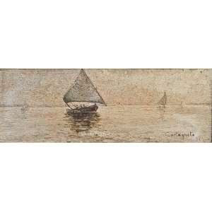 CASTAGNETO, Giovanni Battista - Marinha. O.S.M.- óleo sobre madeira. Medidas: 12,5 x 27 cm (obra). Data: 1894. Assinado e datado 94 no CID-canto inferior direito. Estado de conservação: Ótimo.