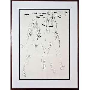 FLÁVIO DE CARVALHO. Série Mulheres nº 8. Desenho à Nanquim S/ Papel. Medidas: 70x50 cm (obra), 90x70 cm (quadro). Assinado e datado 1969 no CSD. Com cachet/etiqueta da Galeria Cosme Velho que apresenta o registo de nº 3926 fixado no verso. Com moldura de madeira, passepartout e vidro de proteção frontal. Estado de conservação: Ótimo raridade.