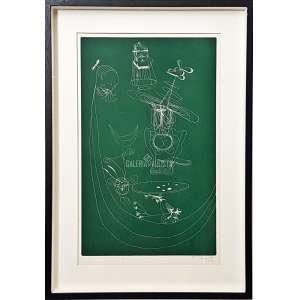 FLÁVIO DE CARVALHO - Surrealismo. Gravura em Metal S/ Papel. Medidas: 57x38 cm (obra), 65x45 cm (quadro). Assinada e datada de 1972 à punho pelo artista no CID-canto inferior direito. Data: 1972. Com moldura tipo caixa, passepartout, vidro de proteção e foamboard anti-mofo no verso. Estado de conservação: Ótimo.