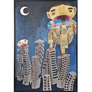 FABIANO SENK - Corrupto Confesso. Mista-Acrílica Sobre Tela e Colagens. Medidas: 90x60 cm (obra), 93x63 (quadro). Data: 2019. Assinado, titulado e datado no verso da obra. Linda obra do artista, em tinta acrílica e colagem de materiais divs (moedas, cédulas, botões, etc). Estado de conservação: ótimo. Com moldura de madeira.<br />Fabiano Senk, começou na cena do grafite em 2007 em São Mateus.<br />Navega no universo do surrealismo e do exagero. Seus personagens, em geral garotos de pele rosa, ou em folha de ouro, com formas exageradas, e disformes, pedalam monociclos, passeiam entre as nuvens, vagam no espaço infinito, passeiam de barco, ou pousam em cenários áridos.<br />O pequeno príncipe encontra a psicodelia, com seus planetas fantásticos, seus meninos, mas também homens e mulheres sofridos e bastante duros.<br />Apesar da origem no street art, é forte a referência no trabalho de Senk do universo do Sertão do Vale do Jequitinhonha, região de origem de sua família.<br />O mix das ruas com a referência rural tornam o trabalho do artista bastante particular.