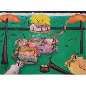 JOSÉ ANTONIO DA SILVA - Paisagem com Bois. O.S.T. óleo sobre tela. Medidas: 89x66 cm (obra), 106x83 cm (quadro). Data: 05/04/1986. Assinado no CID. No verso está assinado e datado 5-4-86. Finamente moldurado c/ madeira e veludo. Estado de Conservação: Ótimo.
