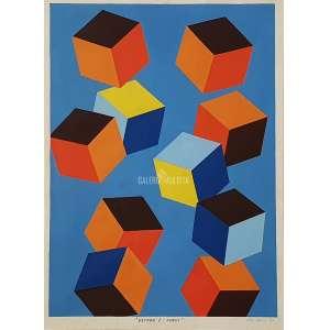 UBI BAVA - Composição - Estudo Cubos I. TMSC - técnica mista s/ cartão. Medidas: 49x39 cm (obra), 58x43,5 cm (quadro). Registrado no Projeto UBI Bava sob nº 22. Assinado e datado 81 no CID. Com Certificado de Autenticidade emitido por Caio W. Bava. Raríssima obra do artista, da fase CUBOS - CUBOS DINÂMICOS. DATA: 1981. Com moldura de alumínio de época, possui vidro de proteção.<br />.<br />UBI Bava (Santos SP 1915 - São Paulo SP 1988). Pintor, desenhista e professor. Frequenta a Escola Nacional de Belas Artes, formando-se em arquitetura em 1939 e pintura em 1940, no Rio de Janeiro. É aluno de Lucilio de Albuquerque e Henrique Cavalleiro. Em 1947, torna-se professor de desenho artístico da Faculdade de Arquitetura e Urbanismo da Universidade Federal do Rio de Janeiro, FAU/UFRJ. Em 1961, ganha o Prêmio de Viagem ao Estrangeiro do Salão de Arte Moderna e segue para a Europa, fixando-se, principalmente, na Itália. Em 1975, faz a cenografia para a peça Nosso Tempo, do 1º Festival de Inverno do Rio de Janeiro.