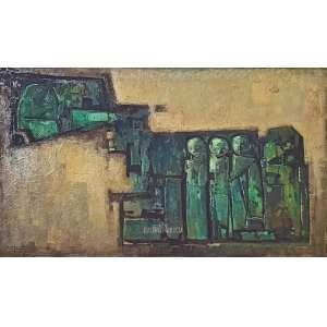 MECATTI, Dario. S/ Título. Óleo Sobre Tela. Medidas: 120x70 cm (obra), 145x95 cm (quadro). Assinado no CIE-canto inferior esquerdo. Com moldura de madeira.