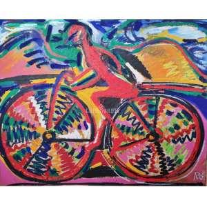 RUBENS GERCHMAN - Red Bi - Bicicleta. A.S.T. Acrílica e Colagem Sobre Tela. Medidas: 90x100 cm (obra). Assinado no CID. No verso está titulado, datado 98 e assinado. Data: 1998. Estado de conservação: Ótimo.