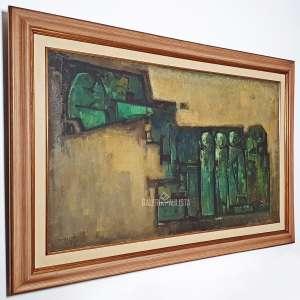DARIO MECATTI. S/ Título. Óleo Sobre Tela. Grande obra do artista, medindo 120x70 cm (obra), 145x95 cm (quadro). Assinado no CIE-canto inferior esquerdo. Com moldura de madeira.