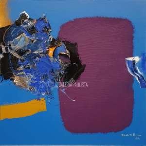 MABE, Manabu - Abstração Sobre Fundo Azul. Óleo Sobre Tela. Med.: 51x51 cm (obra), 74x74 cm (quadro). Catalogada no Instituto Mabe sob nº 1548. Assinado e datado 86 no C.I.D e no Verso. Data: 1986. Possui no verso Carimbo/Numerado 1548 pelo Instituto Manabu Mabe, e cachet da Galeria Espaço MM. Estado de Conservação: Ótimo.