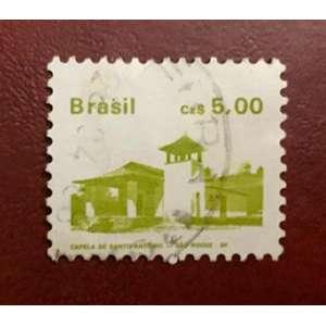 O selo postal impresso no Brasil mostra a capela de Santo Antônio, São Roque, 5 cruzado brasileiro, série Heritage, por volta de 1987