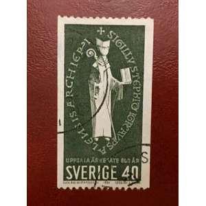 Selo de 12.06.1964, comemorativo de 800º aniversário do arcebispado de Uppsala. <br /><br /><br />Czeslaw Slania começou a trabalhar para os correios suecos em 1959 e continua desde então, mais de 40 anos de sua carreira, o Swedish Post emitiu mais de 450 de seus selos.