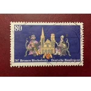 Deutsche Bundespost, Selo postal de 1987 para o 1220 aniversário da fundação da diocese de Bremen<br /><br />Brasão de armas de Bremen em frente à Catedral de Bremen, esquerdo e direito Imperador Carlos Magno e bispo Willehad (valor nominal 80 pfennig)