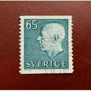 A edição de 1966 do rei Gustav Adolf VI, com um close da ourela inferior, com as iniciais do gravador (CS sc)