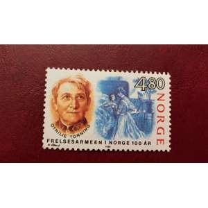 Selo postal impresso na Noruega. Mostra Othilie Tonning, da série Exército de Salvação, por volta de 1988