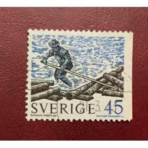 Selo sueco de 1970, representando madereiro.