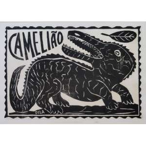 Dila - José Soares da Silva - Camelião - xilogravura em papel de arroz - 23x33cm - acie - s/ data