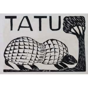 Dila - José Soares da Silva - Tatu - xilogravura em papel de arroz - 23x33cm - assinada - s/ data