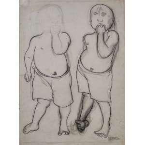 José Cláudio - Crianças - carvão - 59x44cm - acid - 1959
