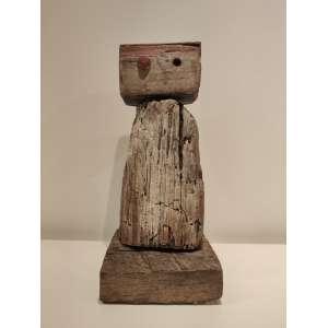 Mário Cravo Jr - cabeça - madeira - 40x16x15cm - assinada - 1986