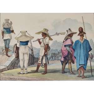 Debret - gravura aquarelada - 16x23cm - acie - 1822