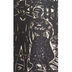 Oswaldo Goeldi - ilustração para o livro Mar Morto de Jorge Amado- xilogravura sobre papel de arroz, P.I. - MI 21,5cm x 14cm - ME 30cm x 23cm. Projeto desenvolvido por Emanuel Araújo, Sérgio Rabinovitz, e autenticado por Antônio Celestino.
