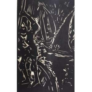 Oswaldo Goeldi - Paquete Voador - ilustração para o livro Mar Morto de Jorge Amado, (p. 141) - xilogravura sobre papel de arroz, P.I. - MI 21,5cm x 14,5cm - ME 29,5cm x 22cm. Projeto desenvolvido por Emanuel Araújo, Sérgio Rabinovitz, e autenticado por Antônio Celestino.