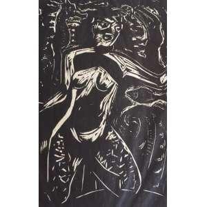 Oswaldo Goeldi - Iemanjá, Dona dos Mares e das Savanas - ilustração para o livro Mar Morto de Jorge Amado, (p. 3) - xilogravura sobre papel de arroz, P.I.- MI 21,5cm x 13,5cm - ME 28cm x 20cm. Projeto desenvolvido por Emanuel Araújo, Sérgio Rabinovitz, e autenticado por Antônio Celestino.