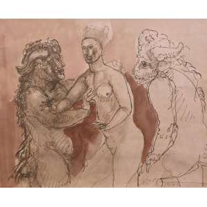 Marcelo Grassmann - nanquim e aguada - 32x50cm - acid - 1964