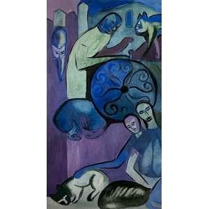 Emanoel Araújo - Gatos - ost - 116x65cm - 1964/65 (obra restaurada)