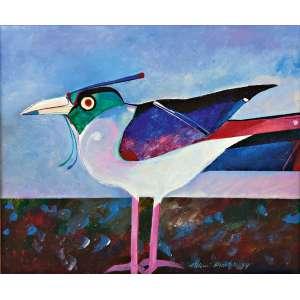 Aldemir Martins - Pássaro - acrílica sobre tela - medindo 46x55cm.- assinado e datado 89 no canto inferior direito.