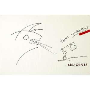 Oscar Niemeyer - Sem título (Amazônia, todos contra Bush) - caneta permanente e colagem sobre papel manteiga - medindo 67x100cm. (Reproduzido catalogo Soraia Cals, março 2016).