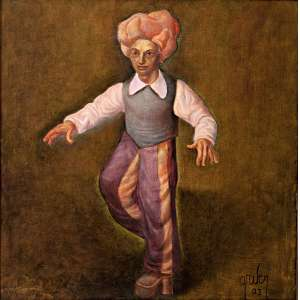 Mário Gruber - Fantasiado - óleo sobre tela – medindo 65x65cm. assinado e datado 2003 no canto inferior direito.
