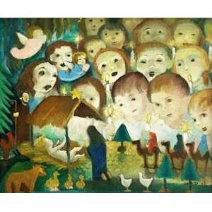 Antonio Gomide - Natividade - óleo sobre tela – medindo 45,5x55cm. assinado e datado 62 no canto inferior direito.