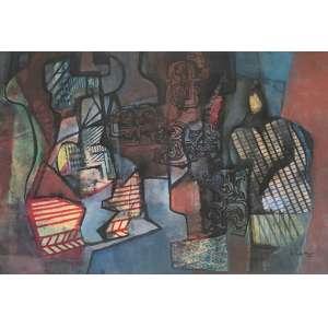 Burle Marx - Sem título - panneaux – medindo 110x156cm. assinado e datado 89 no canto inferior direito.