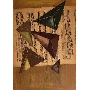 Carlos Scliar - Formas geométricas, etc - vinil e colagem encerados sobre tela – medindo 37x26cm. assinado e datado 92 Cabo Frio, RJ no verso.