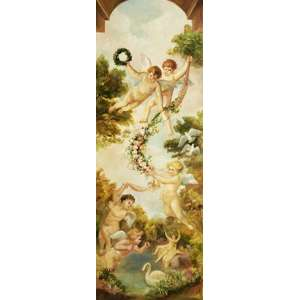 Não indentificado - Anjos - óleo sobre tela – medindo 160x60cm.