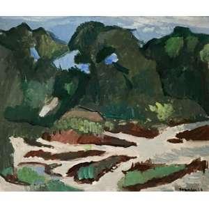 Aldo Bonadei - Paisagem - óleo sobre tela – medindo 55x65cm.- assinado e datado 66 no canto inferior direito.