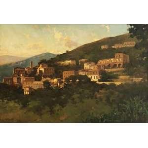 Dario Mecatti - Paisagem - óleo sobre tela – medindo 100x150cm.- assinado no canto inferior esquerdo.