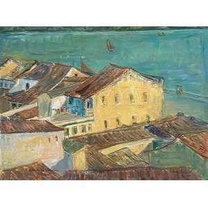 Renée Lefèvre - À beira do Rio São Francisco, Penedo - óleo sobre tela – medindo 46x58cm.- assinado e datado 81 no canto inferior direito. (Reproduzido no livro do artista, pág.85).