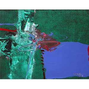 Manabu Mabe, Abstrato, Óleo sobre tela, 38 alt X 46 larg (cm), acid e verso, Ano: 1978 -Histórico: Com selo da Galeria Contorno no Verso.