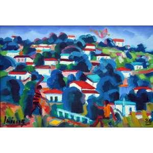 Inimá de Paula, As Favelas do Grande Rio, Óleo sobre tela, 32 alt X 41 larg (cm), acie e verso, Ano: 1982 -Histórico: Com Selo da Vila Bennini Objeto de Arte.