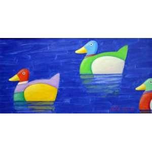 Gustavo Rosa, 3 patinhos na lagoa, Óleo sobre tela, 42 alt X 82 larg (cm), acid e verso, Ano: 2004 -Histórico: (Com certificado emitido pelo Instituto Gustavo Rosa)