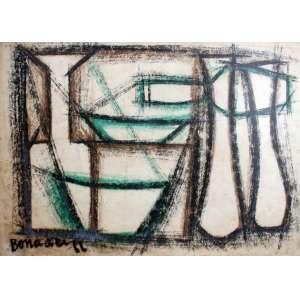 Aldo Bonadei, Composição, Técnica mista sobre papel, 24 alt X 33 larg (cm), acie, Ano: 1966