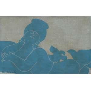 Milton da Costa, Menina e Passaro, Óleo sobre tela, 16 alt X 22 larg (cm), acid